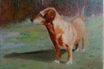 De buurhond (24x18) olieverf op doek
